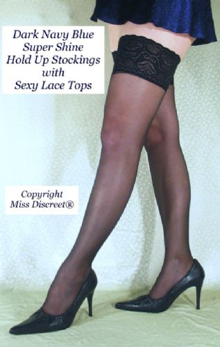 Dark Navy Blue Super Shine 15 Denier Women's Hold Up Stockings with Extra Deep Lace Tops - One Size